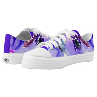 Modern Floral Purple Watercolor Printed Shoes