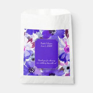 Modern Floral Purple Watercolor Wedding favor bags Favour Bags