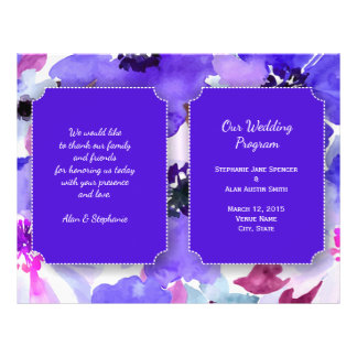 Modern Floral Purple Watercolor Wedding Program 21.5 Cm X 28 Cm Flyer