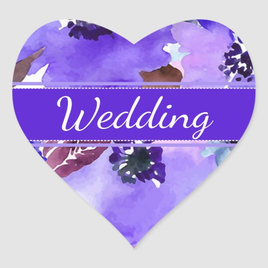 Modern Floral Purple Watercolor Wedding Stickers
