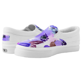 Modern Floral Purple Watercolor Women's Printed Shoes