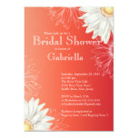 Modern Floral  Red Daisy Bridal Shower Personalised Invitations