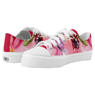 Modern Floral Red Watercolor Printed Shoes