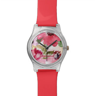 Modern Floral Red Watercolor Watch
