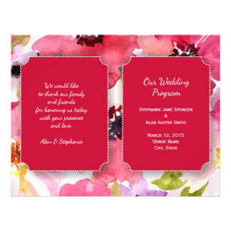 Modern Floral Red Watercolor Wedding Program 21.5 Cm X 28 Cm Flyer
