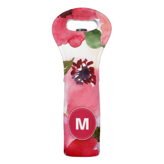 Modern Floral Red Watercolor Wine Bag