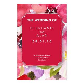Modern Floral Red Wedding Programs Flyer