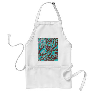 Modern Floral Retro Pattern Blue Brown Aprons
