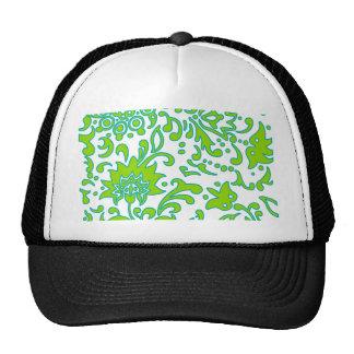 Modern Floral Retro Pattern Green Blue White Cap