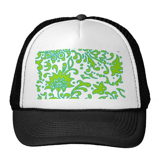 Modern Floral Retro Pattern Green Blue White Mesh Hat