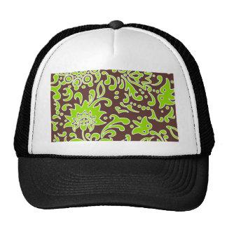 Modern Floral Retro Pattern Lime Green Brown Cap