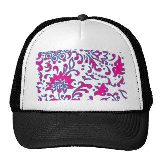 Modern Floral Retro Pattern Pink Blue White Mesh Hat