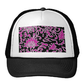 Modern Floral Retro Pattern Purple Black Mesh Hat