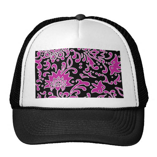 Modern Floral Retro Pattern Purple Black Mesh Hat