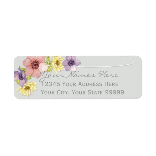 Modern Floral Rustic Lettered Typography Spring Return Address Label