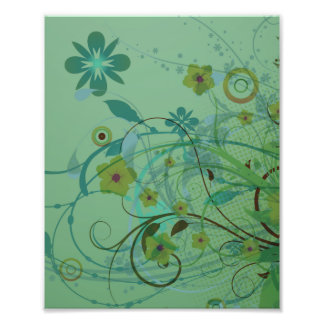 Modern Floral Sea Green Photo Print