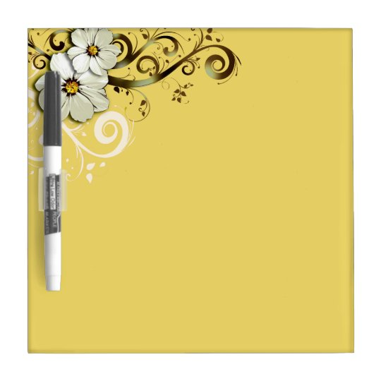 Modern Floral Swirling Curlicues buttercup yellow Dry Erase