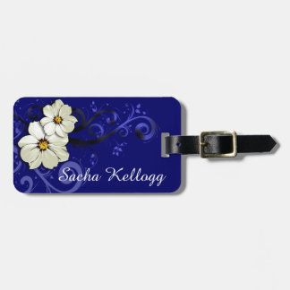 Modern Floral Swirling Curlicues | navy Luggage Tag