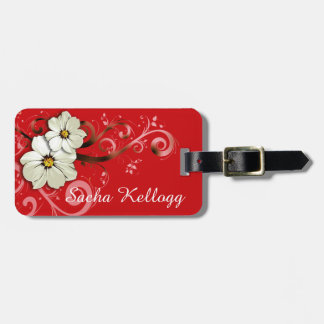 Modern Floral Swirling Curlicues | red Luggage Tag