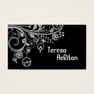 Modern floral swirls & birds black, white business card