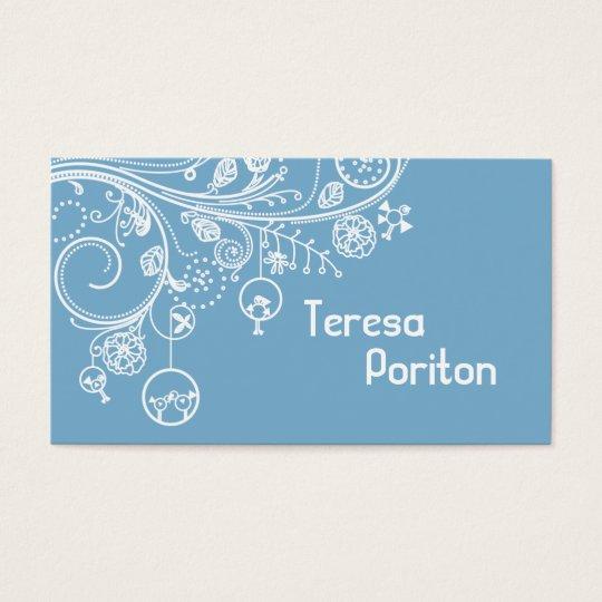 Modern floral swirls & birds dusk blue business card