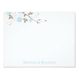 Modern Floral Thank You Note - Aqua Blue 11 Cm X 14 Cm Invitation Card