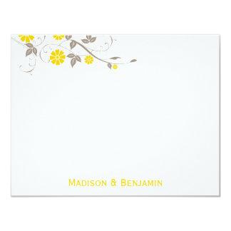 Modern Floral Thank You Note - Mustard 11 Cm X 14 Cm Invitation Card