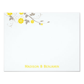 Modern Floral Thank You Note - Mustard Personalized Invitations