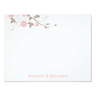 Modern Floral Thank You Note - Soft Pink 11 Cm X 14 Cm Invitation Card