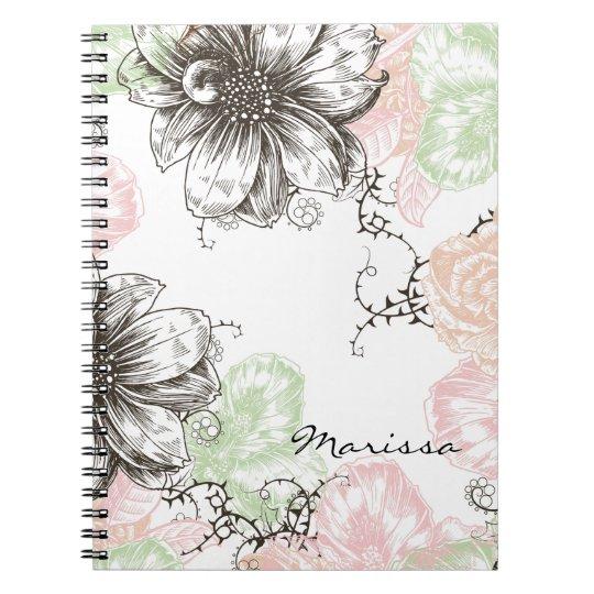 Modern Floral Vintage Graphic Flowers Pink Black Notebook