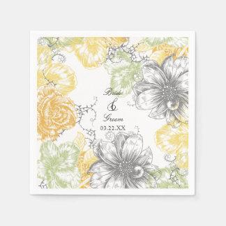 Modern Floral Vintage Graphic Flowers Yellow Grey Disposable Serviette
