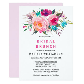 Modern Floral Watercolor Chic Bridal Brunch Card