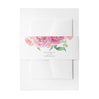 Modern Floral Watercolor Pink Wedding Invitation Belly Band