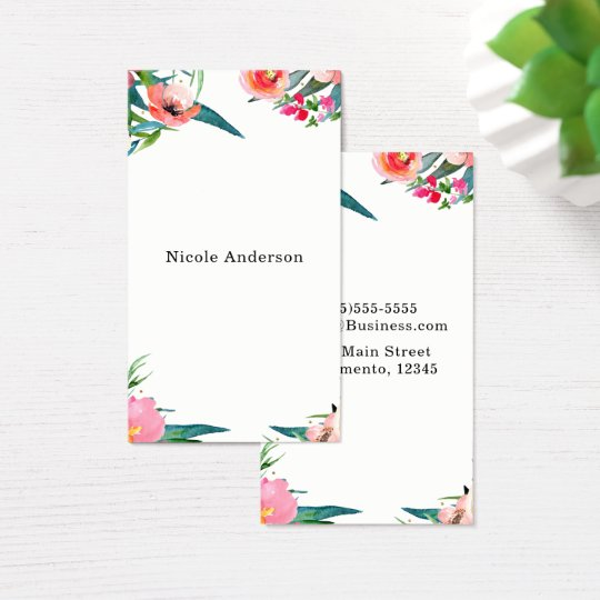 Modern Floral Watercolor Summer Tropical Chic Business Card