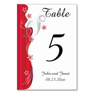 Modern Floral Wedding | Deep Red and Silver Table Card