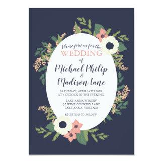 Modern Floral Wedding Invitation - Navy