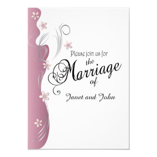 Modern Floral Wedding | Pink Tourmaline & Silver 13 Cm X 18 Cm Invitation Card