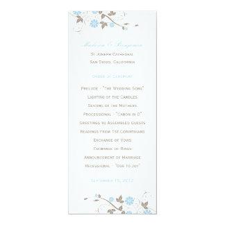 Modern Floral Wedding Program  - Aqua Blue 10 Cm X 24 Cm Invitation Card