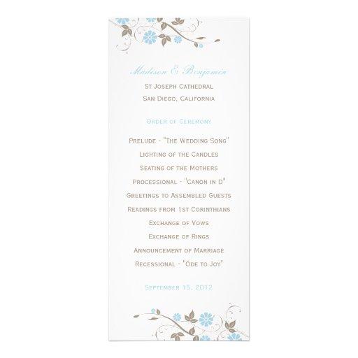 Modern Floral Wedding Program  - Aqua Blue Personalized Invites
