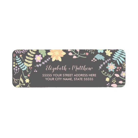 Modern Floral Wedding Return Address Labels
