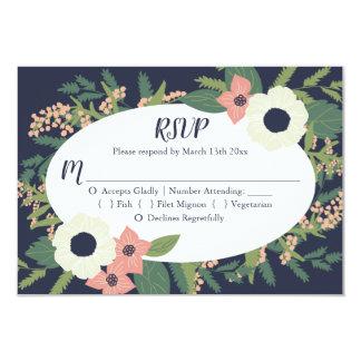 Modern Floral Wedding RSVP - Navy Card