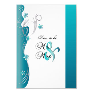 Modern Floral Wedding | Turquoise and Silver 13 Cm X 18 Cm Invitation Card
