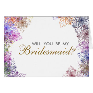 Modern Floral Will You Be My Bridesmaid Invitation Greeting Card