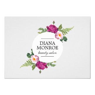 Modern Floral Wreath Gray Salon Gift Certificate 11 Cm X 16 Cm Invitation Card