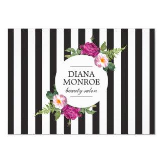 Modern Floral Wreath Stripe Salon Gift Certificate 11 Cm X 16 Cm Invitation Card