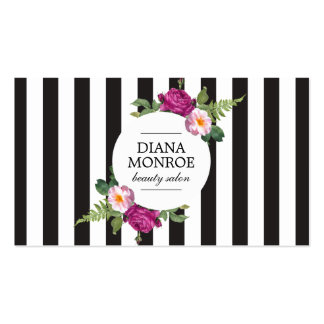 Modern Floral Wreath Striped Salon Business Card
