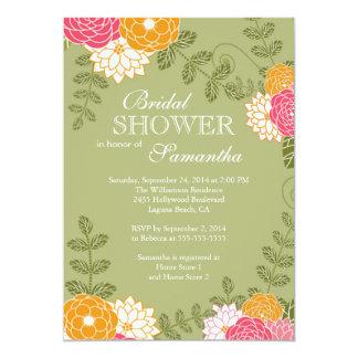 Modern Floral  Zinnia & Mums Flower Bridal Shower Card