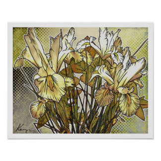 Modern Florals: White Iris Posters