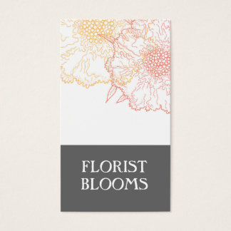Modern Florist Business Cards Grey Orange Red