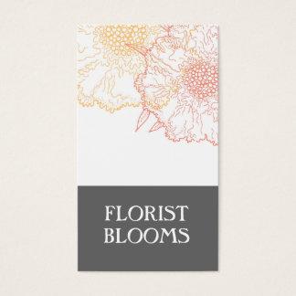 Modern Florist Business Cards Grey Orange Red